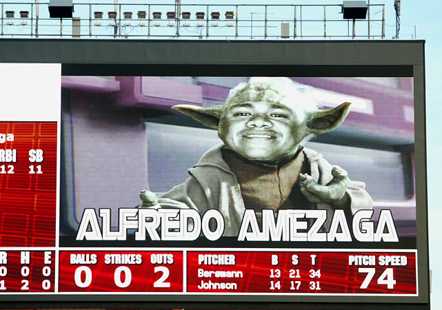 The Marlins' Alfredo Amezaga is shown on the scoreboard as Yoda during his at-bat in the first inning against the Nationals on Aug. 22, 2006 in Miami.