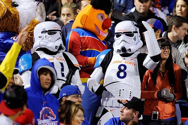 Boise State Broncos fans dressed as stormtroopers cheer in the stands during the team's 48-21 victory over the UNLV Rebels at Sam Boyd Stadium Nov. 5, 2011 in Las Vegas.