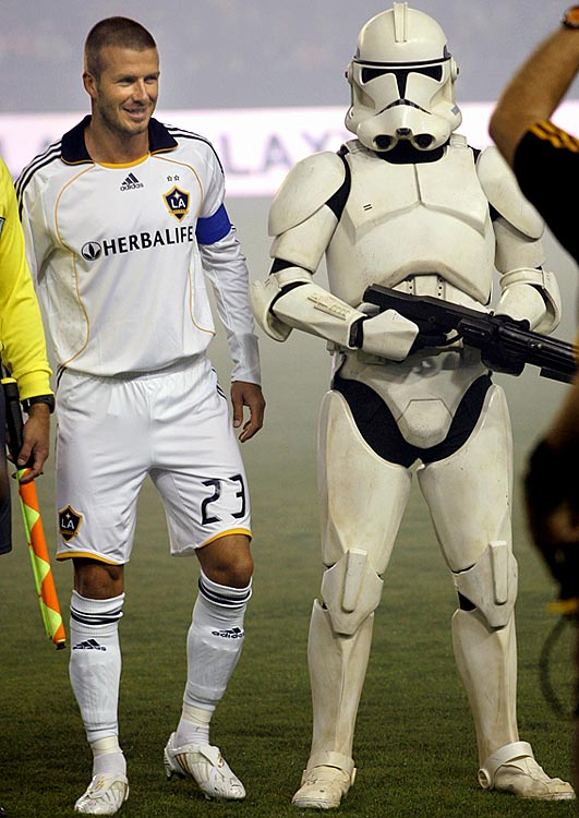 Galaxy midfielder David Beckham and a clone trooper pose for photographers during pregame festivities of an MLS soccer match against D.C. United on Sept. 20, 2008 in Los Angeles.