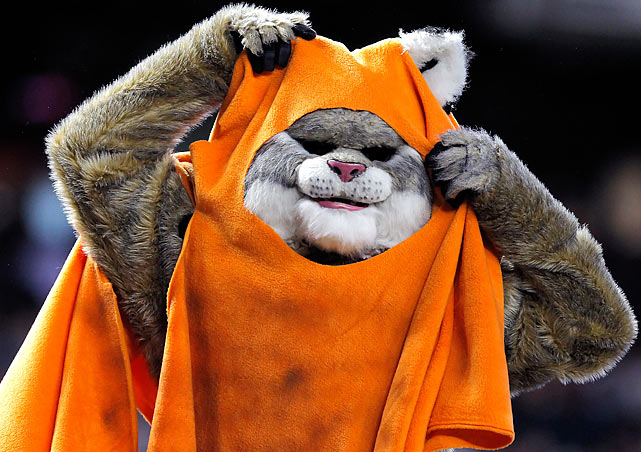 Diamondbacks mascot Baxter dresses as an Ewok as part of the team's Star Wars Festivities during a game against the Giants on Sept. 25, 2011 at Chase Field in Phoenix.