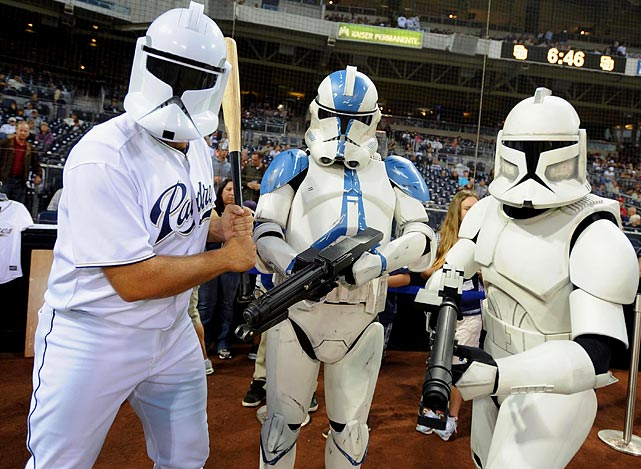 Padres closer Heath Bell (left) wears a clone trooper helmet and poses for a photo with other clone troopers prior to a game against the Reds on Sept. 24, 2010 at Petco Park in San Diego.