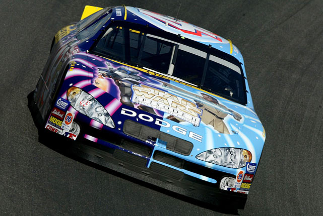 John Andretti drives the Cheerios/Star Wars Dodge Intrepid R/T during practice for the Coca-Cola 600 on May 23, 2002 at Lowe's Motor Speedway in Concord, North Carolina.