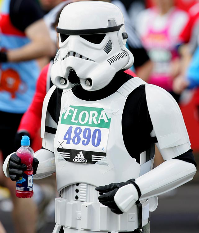 A runner dressed as a stormtrooper begins the London Marathon on April 13, 2008.