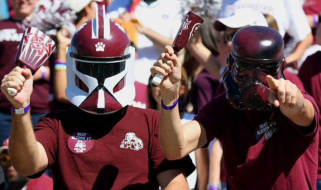 Mississippi State students wear clone trooper and stormtrooper masks during a game against Alcorn State on Oct. 2, 2010, in Starkville, Mississippi.