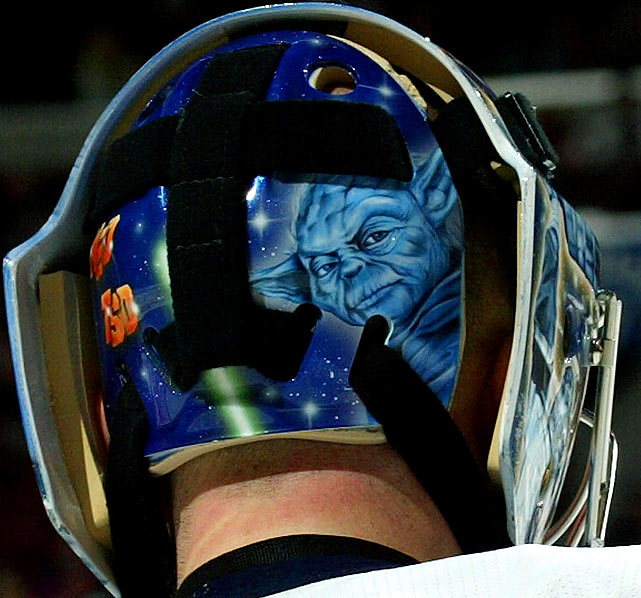 The mask of Islanders goalie Wade Dubielewicz displays an image of Yoda during a game against the Flyers on April 7, 2007 in Philadelphia.