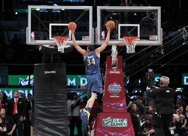 At the 2011 All-Star Slam Dunk Contest, JaVale McGee became the first person to simultaneously dunk two basketballs in separate hoops. He also set a Guinness World Record for dunking three basketballs in one hoop. Too bad he still lost the contest.