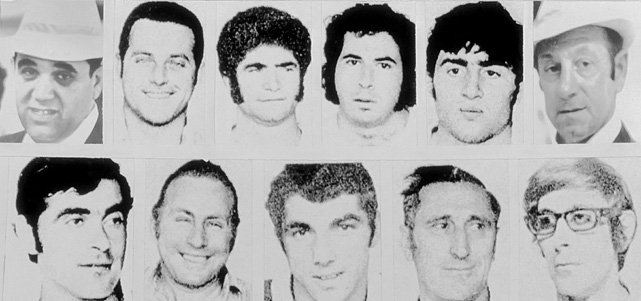 Eleven members of the Israeli Olympic team were killed by the Black September terrorist group at the Summer Olympics. Competition was suspended following the hostage-taking, the first time the Games had been halted in modern Olympic history.