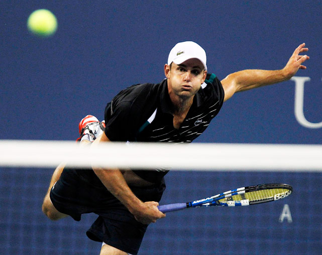 Roddick showed off his power on this overhead to fellow American Michael Russell.