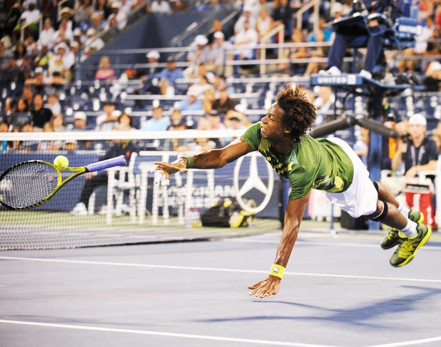 There never seems to be a shortage of   wacky shots from Monsieur Monfils  . Here, the Frenchman funneled his creativity in an attempt to return a passing shot from Grigor Dimitrov.