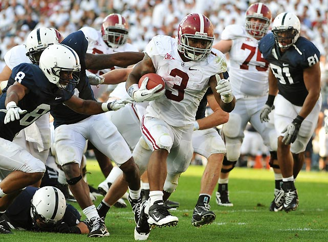 Alabama and Penn State both entered this contest with unsettled quarterback situations. The Tide seem to have found their man. A.J. McCarron was collected and efficient in the win, throwing for 163 yards and a touchdown. He got some help from Trent Richardson (pictured), who rushed for 111 yards and two scores.  Meanwhile, Penn State's Rob Bolden and Matt McGloin combined for 144 yards against Alabama's smothering D.