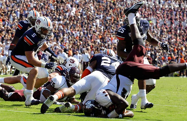 Inches. That's what stood between Mississippi State and victory. But the Auburn defense stopped running back Vick Ballard and quarterback Chris Relf on back-to-back rush attempts to preserve a victory in one of the most thrilling games of the season to date. The defending national champion Tigers own the nation's longest winning streak at 17.
