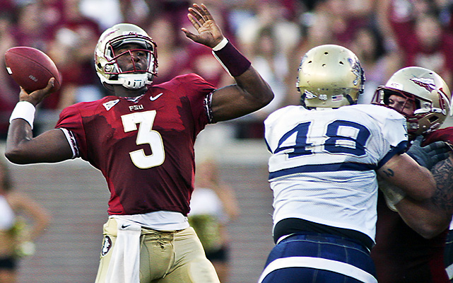 EJ Manuel threw for a career-best 329 yards and four touchdowns as Florida State (2-0) warmed for next week's showdown with idle and top-ranked Oklahoma by blasting Charleston Southern. The Seminoles, who lost to the Sooners 47-17 last year, had a 371-8 yardage advantage in the first half of a major scheduling mismatch.