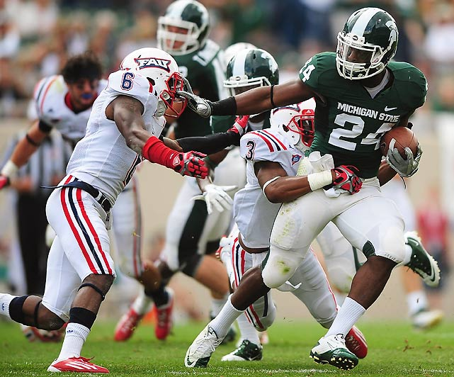 There was no slow start for Michigan State this week. The Spartans got out to a 14-0 first quarter lead and never slowed, with Le'Veon Bell (pictured) and his teammates scoring at will. The Owls had no such luck, managing a measly two first downs and 45 total yards of offense against a suffocating Michigan State defense.