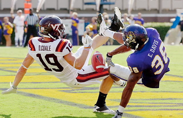 This wouldn't have been as bad as losing to James Madison, but it wouldn't have been good, either. Virginia Tech narrowly escaped upset-minded East Carolina thanks to a go-ahead touchdown run from Josh Oglesby with 7:30 remaining. It was a particularly rough day for quarterback Logan Thomas, who completed 8-of-20 passes for 91 yards and a pick in his second career start.
