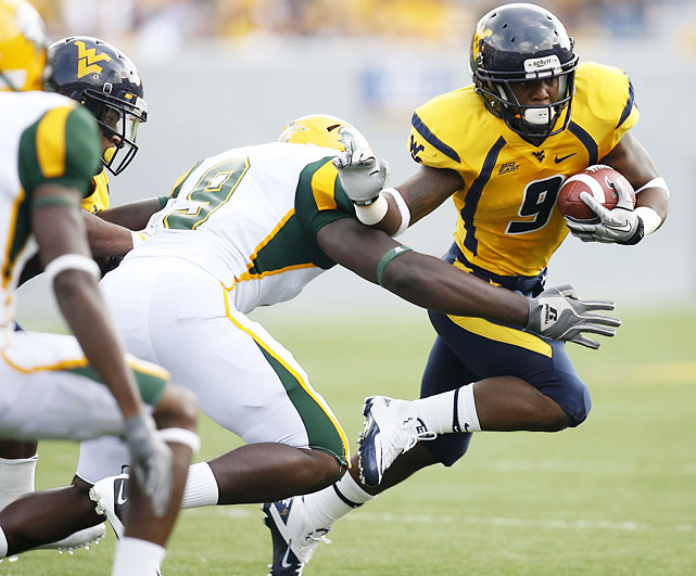 Dana Holgorsen's Air Raid attack was nowhere to be seen in the first half, as West Virginia trailed Norfolk State 12-10 at the midway point. But Geno Smith and the Mountaineers scored on their first seven possessions of the second half to erase that deficit in a hurry. The Spartans helped them out, committing 19 penalties for a whopping 177 yards.