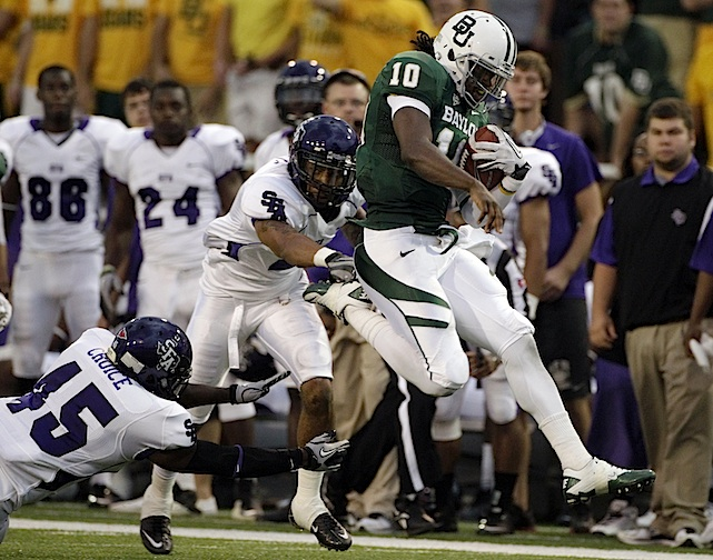 The game may have been cut short due to dodgy weather, but there was plenty of time for Heisman hopeful Robert Griffin III and the Baylor Bears to notch an impressive 48-0 win over Stephen F. Austin. RGIII was 20 of 22 for 247 yards and three touchdowns as the Bears dominated the Lumberjacks. It was Baylor's first shutout victory since 1995 and its first at home since 1985.