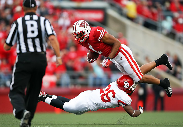The Russell Wilson Experiment continues to produce tremendous results for Wisconsin. Wilson completed 19-of-25 passes for 345 and three touchdowns, two of which went to favorite target Nick Toon (pictured), who posted a career-high 155 receiving yards in the win.