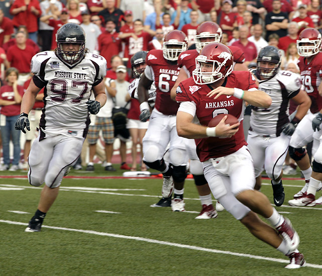 Tyler Wilson got off to an efficient, if not spectacular, start at Arkansas. Ryan Mallett's backup the past two seasons threw for 260 yards and a pair of touchdown to Jarius Wright to help the Razorbacks. The junior had plenty of help in the form of a dominating defensive performance and a pair of punt returns for touchdowns by Joe Adams, who tied a Southeastern Conference record with his performance.