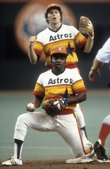 "Joe Morgan wishes he was back in the Reds' ""Big Red Machine"" uniform rather than where this orange-tinted Astros dud."
