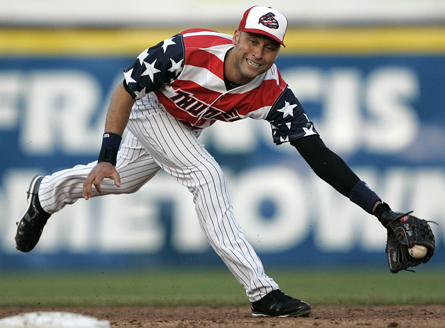The Trenton Thunder were so excited to have Derek Jeter join the team as part of a rehab assignment, they designed these duds so he'd never forget his time there (as well as pay tribute to America).