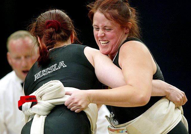 Nicole Hehemann (right) of Germany attempts to rip off Russia's Svetlana Panteleyeva's mawashi, the formal name of the loin cloths they wear.
