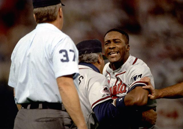 In Game 2 of the 1991 Series, Ron Gant came to the plate representing the tying run and knocked a single into the outfield. After rounding first, Gant stepped back onto the base as Twins first baseman Kent Hrbek got the ball. Hrbek then preceeded to push Gant off the base and tag him out. The umpire missed the shove, Gant was called out and the Braves lost their chance to score. Minnesota went on to win the World Series in seven games.