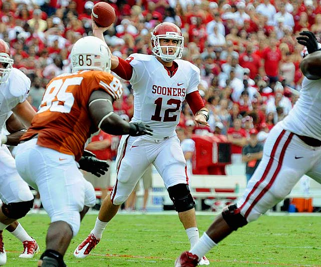 Last week:  31-of-50 passing for 367 yards and three TDs in 55-17 win over No. 11 Texas.   Season (five games):  142-of-205 passing for 1,814 yards, 13 TDs and five INTs; 10 rushes for two yards and two TDs.  Will Oklahoma's sports information department look any further when compiling clips for Jones' Heisman highlight package? Heading into the Red River Rivalry game, Texas had allowed all of two passing TDs, but Jones had three  by halftime  to go along with 305 yards on 23-of-35 passing. It was his fourth 350-plus yards game of the season and the third in as many games. Jones now boasts two wins over top-11 teams, more than any other QB on this list. Nobody did more to help their cause in Week 6.   Next up:  Saturday at Kansas