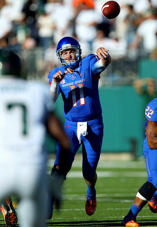 Last week:  26-of-30 passing for 338 yards and four TDs in 63-13 win over Colorado State.   Season (six games):  151-of-199 passing for 1,729 yards, 21 TDs and four INTs.  Put Colt McCoy on alert. Moore moved within a win of equaling the former Texas QB for the all-time NCAA wins mark as he picked up the 42nd of his Broncos career. The senior hit on his first 18 passes, helping Boise State to a school-record 742 yards in a shellacking of Colorado State in the Bronco's MWC debut, which was its second straight win of 50 points. Moore also posted his third game this season with at least four TD passes -- he now has eight overall -- and did it in less than three quarters of work vs. the Rams' 93rd-ranked defense.   Next up:  Saturday vs. Air Force