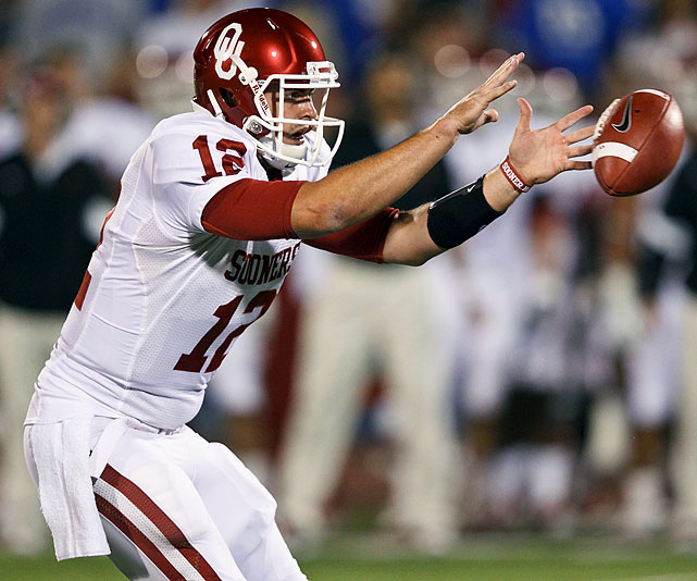 Last week:  29-of-48 passing for 363 yards, three TDs and one INT; two rushes for nine yards in 47-17 win over Kansas.   Season (six games):  171-of-253 passing for 2,177 yards, 16 TDs and six INTs; 12 rushes for 11 yards and two TDs.  It was Ryan Broyles, the other half of Oklahoma's prolific passing duo, that etched his name in the NCAA record book vs. Kansas, becoming the all-time leader in career receptions. But Jones, remains the Sooners' best chance at another Heisman -- for those debating it, you only need look at 2008 when Texas Tech QB Graham Harrell finished higher than Michael Crabtree in voting. Jones got off to a rocky start, missing on his first four throws and having one red-zone completion by halftime, but he wound up with his fourth straight game with at least three TD passes.   Next up:  Saturday vs. Texas Tech