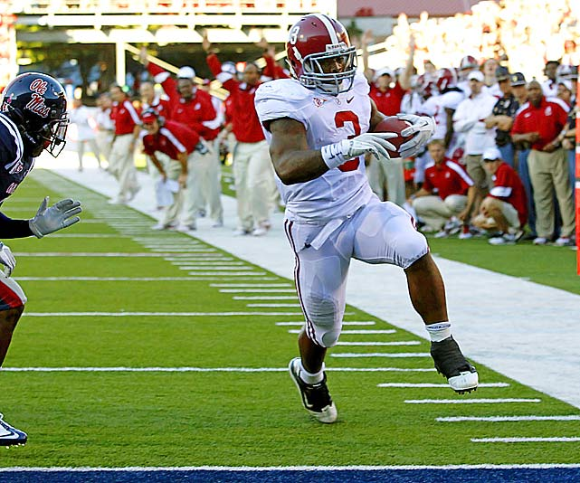 Last week:  17 rushes for 183 yards and four TDs; two receptions for 30 yards in 52-7 win over Ole Miss.   Season (seven games):  132 rushes for 912 yards and 15 TDs; 15 receptions for 179 yards and one TD; two kick returns for 43 yards.  So it came against the nation's 95th-ranked rush defense. Richardson has more than hit his groove, again breaking his career yardage mark vs. Ole Miss. The comparisons to Mark Ingram, Richardson's former backfield mate, are unavoidable and seven games into his first season as the lead back, Richardson is more than holding his own. He has more yards (912 to 905), more touchdowns (15 to eight) and more 100-yard games (six to four) on three less carries than Ingram at this point in his Heisman-winning season of '09, which was also his first year as Alabama's No. 1 runner.   Next up:  Saturday vs. Tennessee