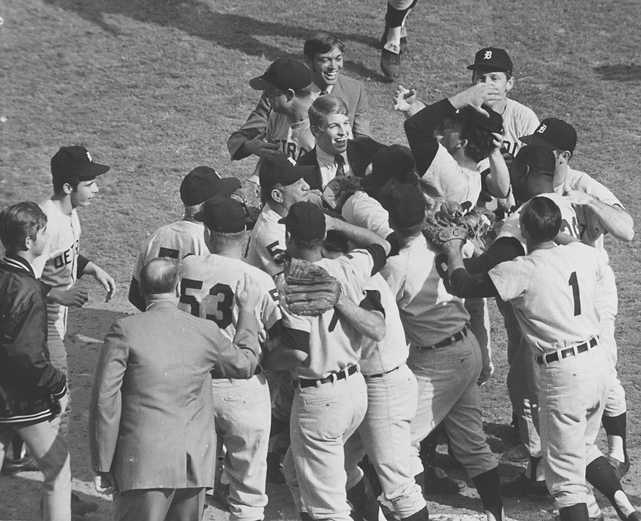 The Detroit Tigers mob pitcher Mickey Lolich after defeating the St. Louis Cardinals 4 to 1 in Game 7 of the 1968 World Series. Detroit has won four World Series titles.