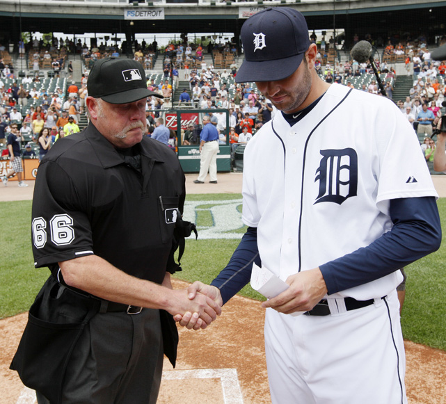 The day after Joyce spoiled Galarraga's perfect game with a blown call at first base, the pitcher and umpire greeted each other at home plate. Galarraga and Joyce co-authored the book  Nobody's Perfect  about the June 2, 2010, near-perfect game.