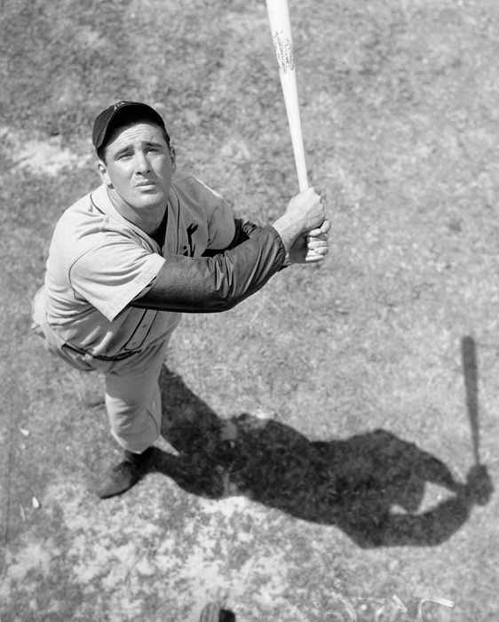 """The Hebrew Hammer"" takes a swing at batting practice in 1935. Greenberg was a five-time All-Star and two-time AL MVP. He was elected to the Baseball Hall of Fame in 1955."