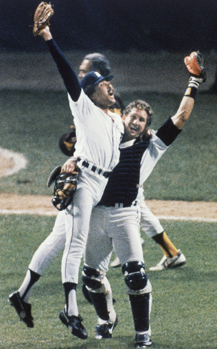 "Ace reliever Willie Hernandez and catcher Lance Parrish celebrate the Tigers' ""Roar of '84"" World Series-winning season. Hernandez was the 1984 AL MVP and Cy Young award winner."