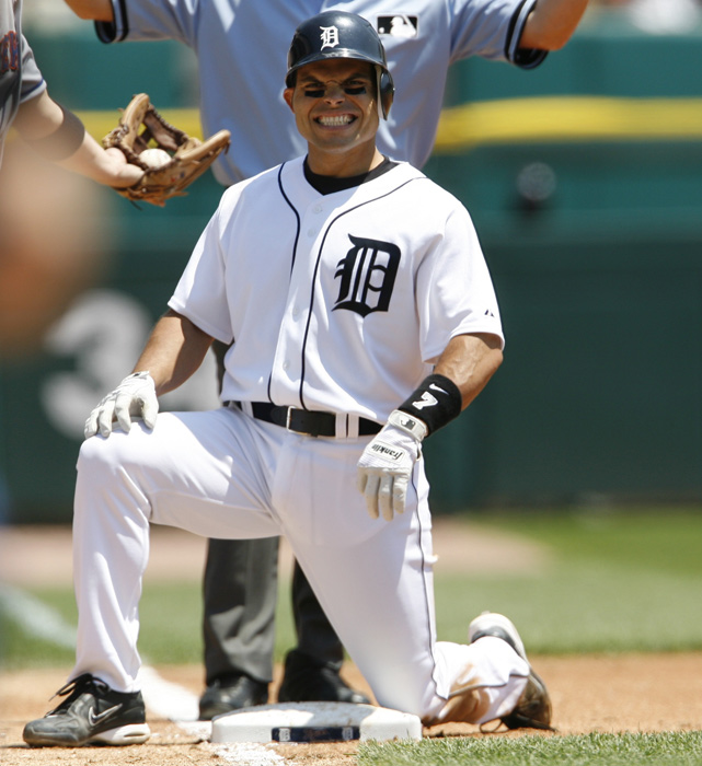 """Pudge"" Rodriguez reaches first base safely during a game against the New York Mets. The catcher played for the Tigers from 2004 to 2008. During that stretch the team only reached the playoffs once, in 2006."