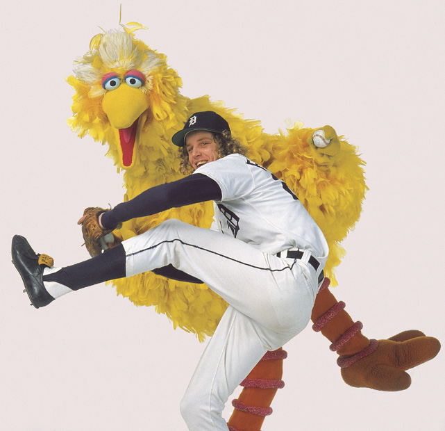 "Mark""The Bird"" Fidrych poses with the Sesame Street character during a 1977 photo shoot. Fidrych led the majors with a 2.34 ERA in 1976 and won AL Rookie of the Year."