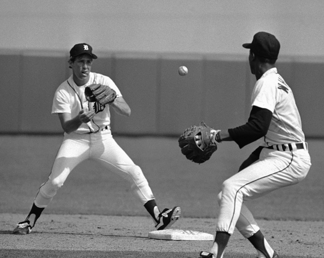 Lou Whitaker, Detroit's second baseman from 1979 to 1995, flips the ball to shortstop Alan Trammell during training camp. Whitaker and Trammell played together in Detriot for 18 straight years, making them the longest running double-play combination in Major League history.