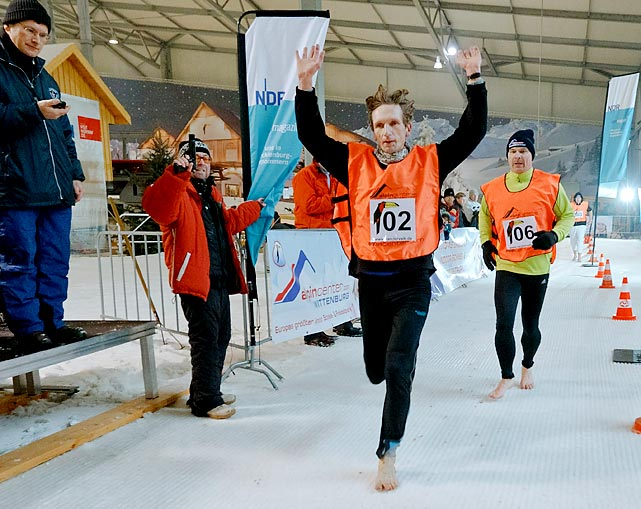 The fastest 5 km ran while barefoot on ice or snow is 23 minutes 42.16 seconds, by Kai Martin from Guestrow (Germany), in a race held on a deep-frozen prepared snow track in the indoor ski resort.