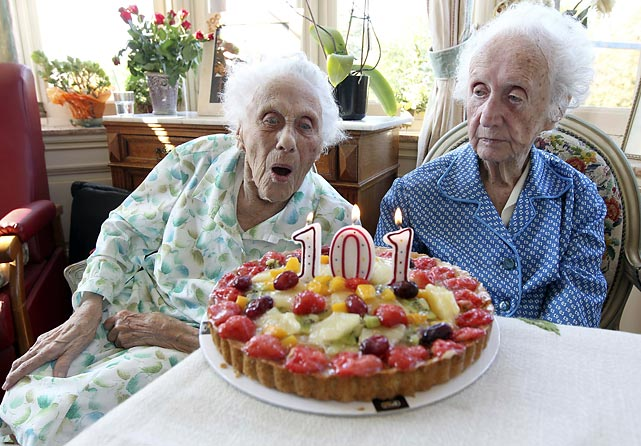 Marie (left) and Gabrielle Vaudremer of Belgium celebrate their 101st birthday.