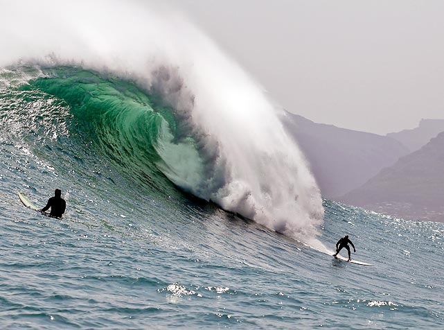 Josh Redman catches a big wave off the cost of Cape Town in South Africa.