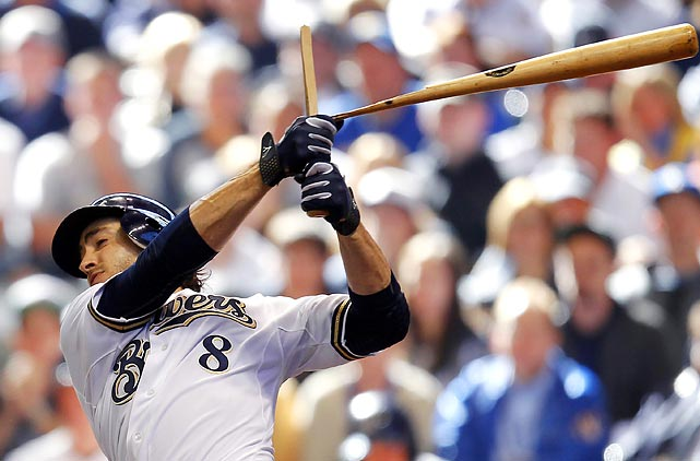 Milwaukee outfielder Ryan Braun snaps his bat during the Brewers 4-1 victory over the Diamondbacks in their NL Divisional Series opener.
