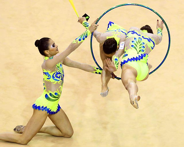 Brazilian gymnasts compete in the rhythmic gymnastics group qualification round at the Pan American Games in Guadalajara, Mexico.