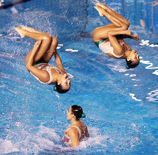 Colombia's synchronized swimming team performs during the preliminary round at the Pan American Games in Guadalajara, Mexico.
