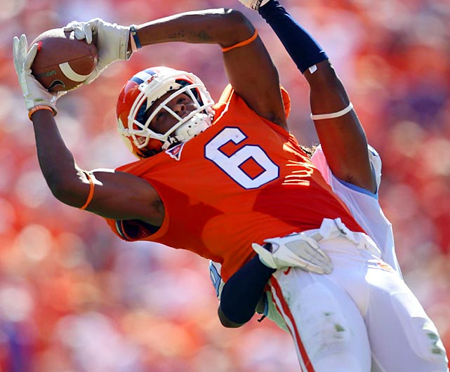 Clemson sophomore DeAndre Hopkins brings in one of his nine receptions against North Carolina. The wideout paced the undefeated Tigers with 157 yards and a touchdown in their 59-38 victory.