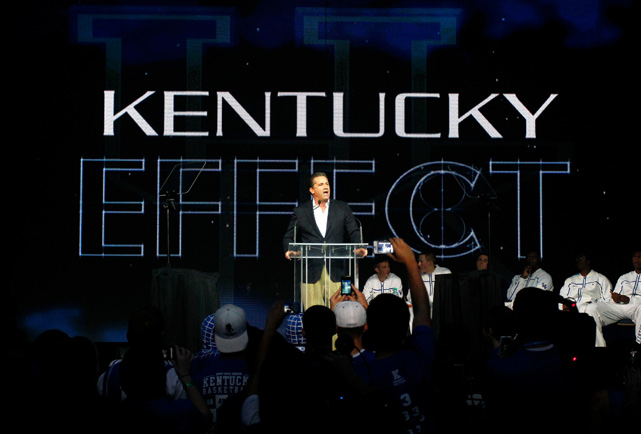 Kentucky coach John Calipari talks about the ''Kentucky Effect'' during Big Blue Madness at Rupp Arena.