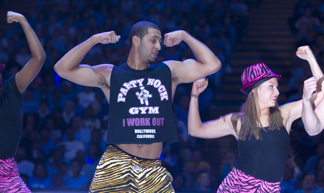 North Carolina's Kendall Marshall does a dance routine during ''Late Night with Roy Williams'' at the Smith Center.