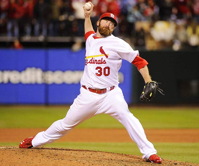 St. Louis closer Jason Motte pitched the ninth and helped the Cardinals hold onto a 3-2 lead.