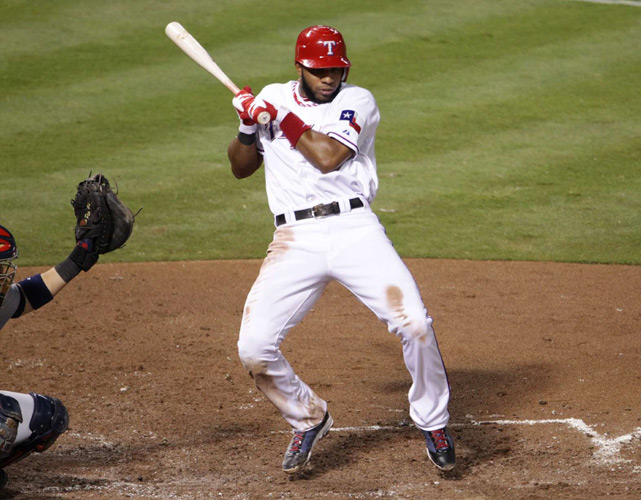 Shortstop Elvis Andrus, here backed off the plate by Cardinals starter Edwin Jackson, gave the Rangers a 1-0 lead when he scored on Josh Hamilton's first-inning double.