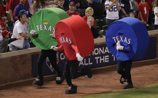 Even World Series games have between-innings entertainment. Looks like one of the Texas racers won.