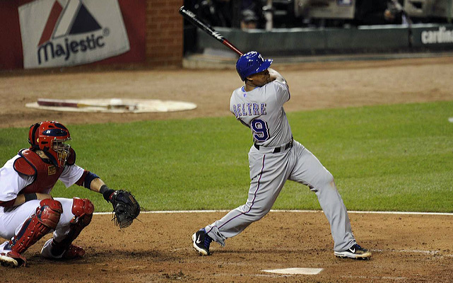 Adrian Beltre's home run leading off the seventh inning gave the Rangers a 5-4 lead.